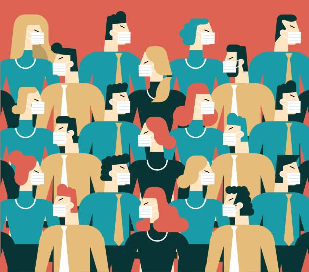 illustrazioni stock, clip art, cartoni animati e icone di tendenza di people in white medical face mask - businessman covid mask
