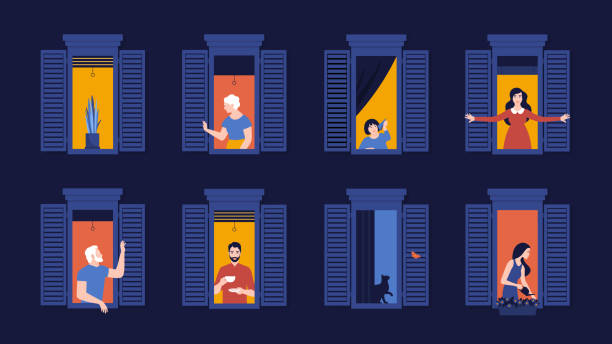 People in window frames. Neighbors in apartments. Night. The facade of the house. People in window frames. Neighbors evening live in apartments. Night. The facade of the house. Vector flat illustration facade stock illustrations