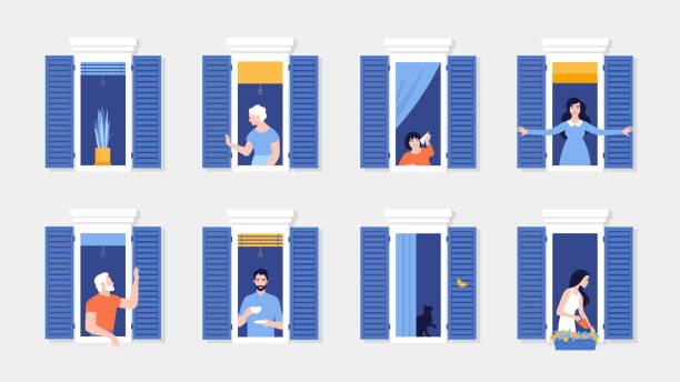 stockillustraties, clipart, cartoons en iconen met mensen in raamkozijnen. buren die in appartementen wonen. de gevel van het huis. - raam