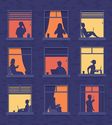 People in windows apartment building look out of  room or apartment, work on laptop, talk on phone, drink coffee, read books, run on treadmill. Concept of surroundings house in evening with people in window frames.