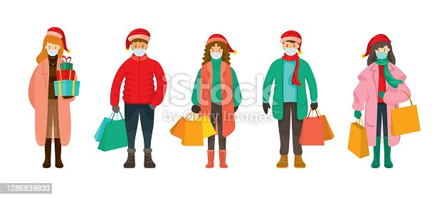 istock People in Winter Clothes wearing Face Mask, Christmas Shopping Concept 1286839933