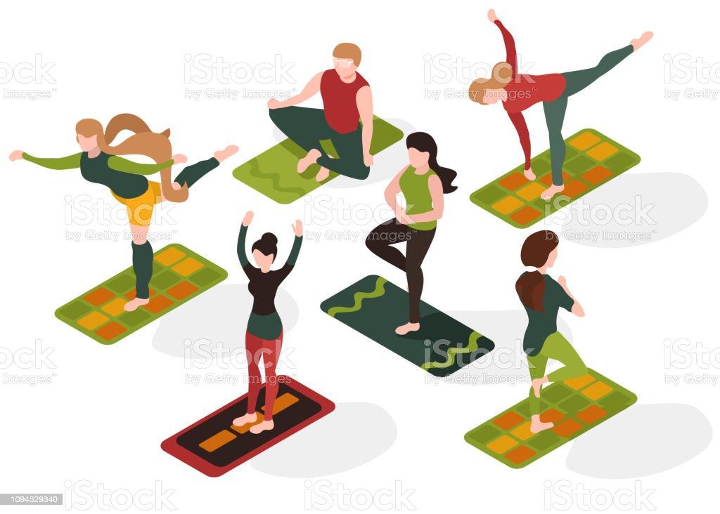 People in yoga asana. Sport training. Recreation. Isometric flat 3d...