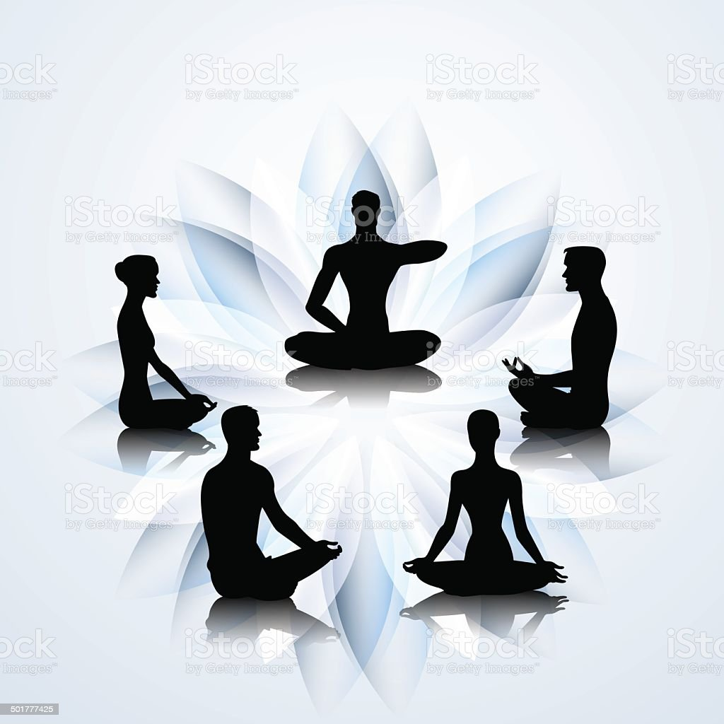 People in yoga poses vector art illustration