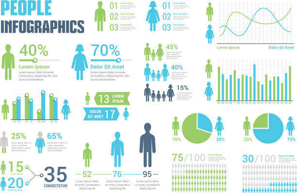 people infographics - infographics stock illustrations, clip art, cartoons, & icons