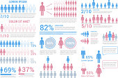 Set of infographic elements with people, vector eps10 illustration