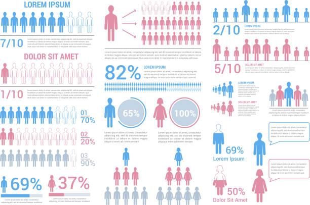 人々のインフォグラフィック - 人口統計のインフォグラフィック点のイラスト素材/クリップアート素材/マンガ素材/アイコン素材