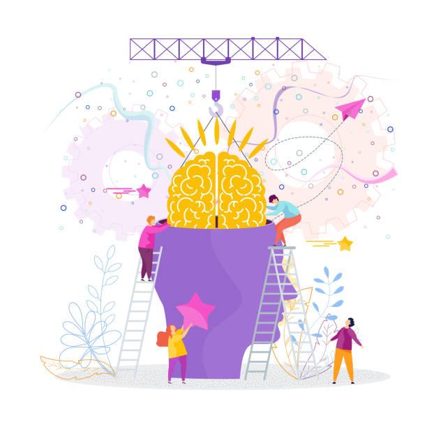 stockillustraties, clipart, cartoons en iconen met mensen invoegen hersenen in hoofd - geestelijk welzijn