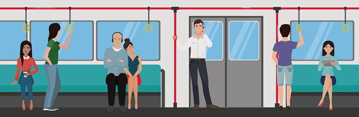 People Inside A Subway Train Metro Transportation Concept ...