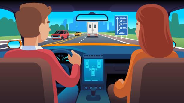 bildbanksillustrationer, clip art samt tecknat material och ikoner med människor inuti bilens interiör. resa förare navigering säte dating familje passagerare taxi säkerhet hastighet väg, platt vektor illustration - kör