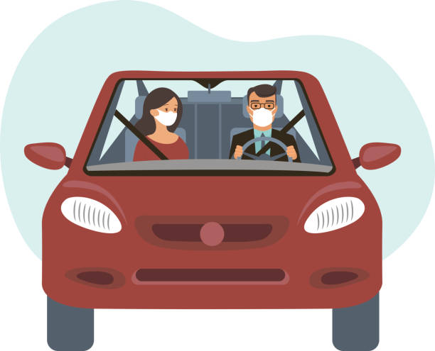 People inside the car wearing protective masks. Travel restrictions on coronavirus COVID-19 pandemic concept vector art illustration