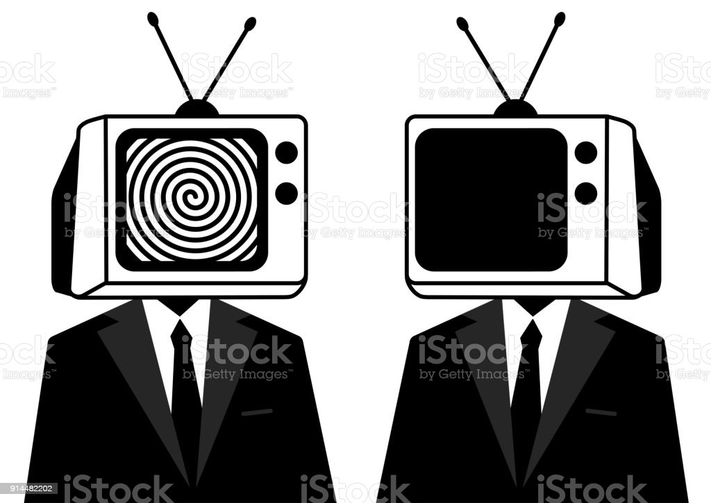 people instead of head tv silhouette man zombie mass media
