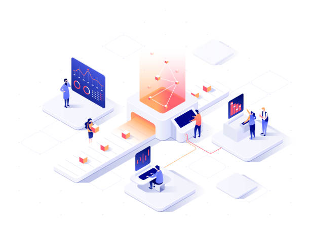 People interacting with charts and analysing statistics. Data visualisation concept. 3d isometric vector illustration. People interacting with charts and analysing statistics. Data visualisation concept. 3d isometric illustration. place of work stock illustrations