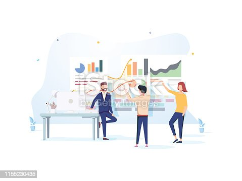People interacting with charts and analyzing statistics. Data visualization concept. 3d vector illustration. People work in a team and achieve the goal. Template, banner, advertising or presentation.