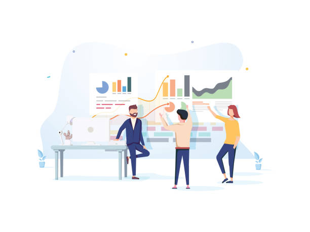 people interacting with charts and analyzing statistics. data visualization concept. 3d vector illustration. people work - analizować stock illustrations