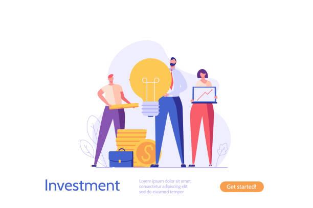 人々はお金を投資します。ビジネスクリエイティブなアイデア、お金で立っている成功チーム。バイシネスのアイデア、投資収益率、金融ソリューションの概念。ui、webバナー、モバイルア� - 投資家点のイラスト素材/クリップアート素材/マンガ素材/アイコン素材