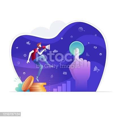 A person is touching the keyboard key with his finger and Man in red shirt is making search on the internet and is earning money with pay per click. Pay per click. Vector illustration.