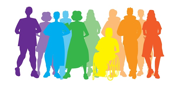 LGBTQ people isolated as homosexuals, vector stock illustration with silhouettes of gay community, disabled person in chair, inclusiveness concept