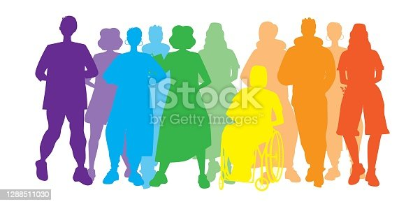 LGBTQ people isolated. Flat vector stock illustration. Silhouettes of homosexuals, gays, lesbians. LGBTQ community concept, inclusiveness. People, disabled person in a wheelchair