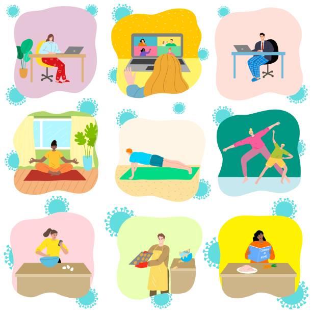 stockillustraties, clipart, cartoons en iconen met mensen isoleren zich thuis voor bescherming tegen coronavirus infectie - avondklok