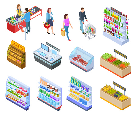 People isometric store. Shopping grocery market customer supermarket products, persons in retail shop buying food 3d vector items