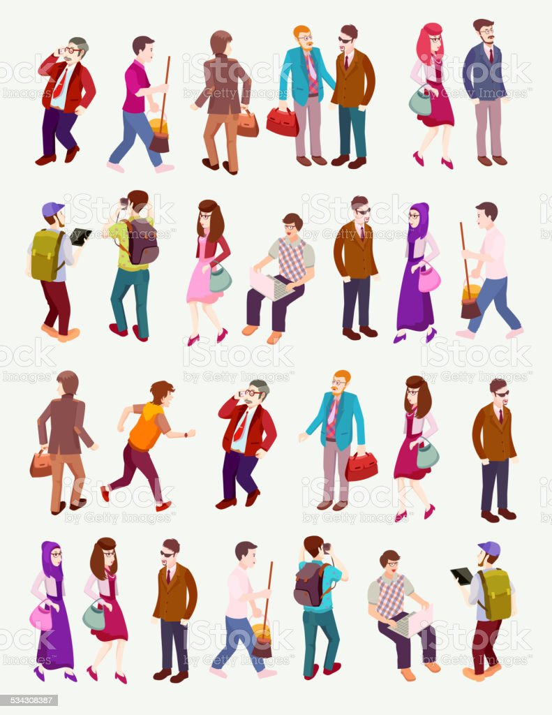 People Occupations Jobs And Community At: People Isometric Vector With Several Occupation Stock