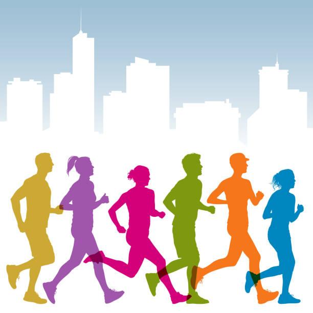 ilustrações de stock, clip art, desenhos animados e ícones de pessoas de jogging - young woman running city