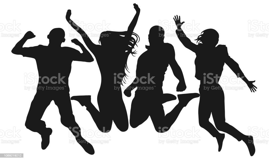 People jump vector silhouette. Cheerful man and woman isolated. Jumping friends colorful background - Royalty-free Adult stock vector