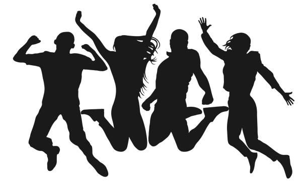 People jump vector silhouette. Cheerful man and woman isolated. Jumping friends colorful background People jump vector silhouette. Cheerful man and woman isolated. Jumping friends colorful background silhouette people stock illustrations