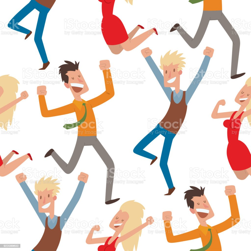 people jumping in celebration party vector happy man jump