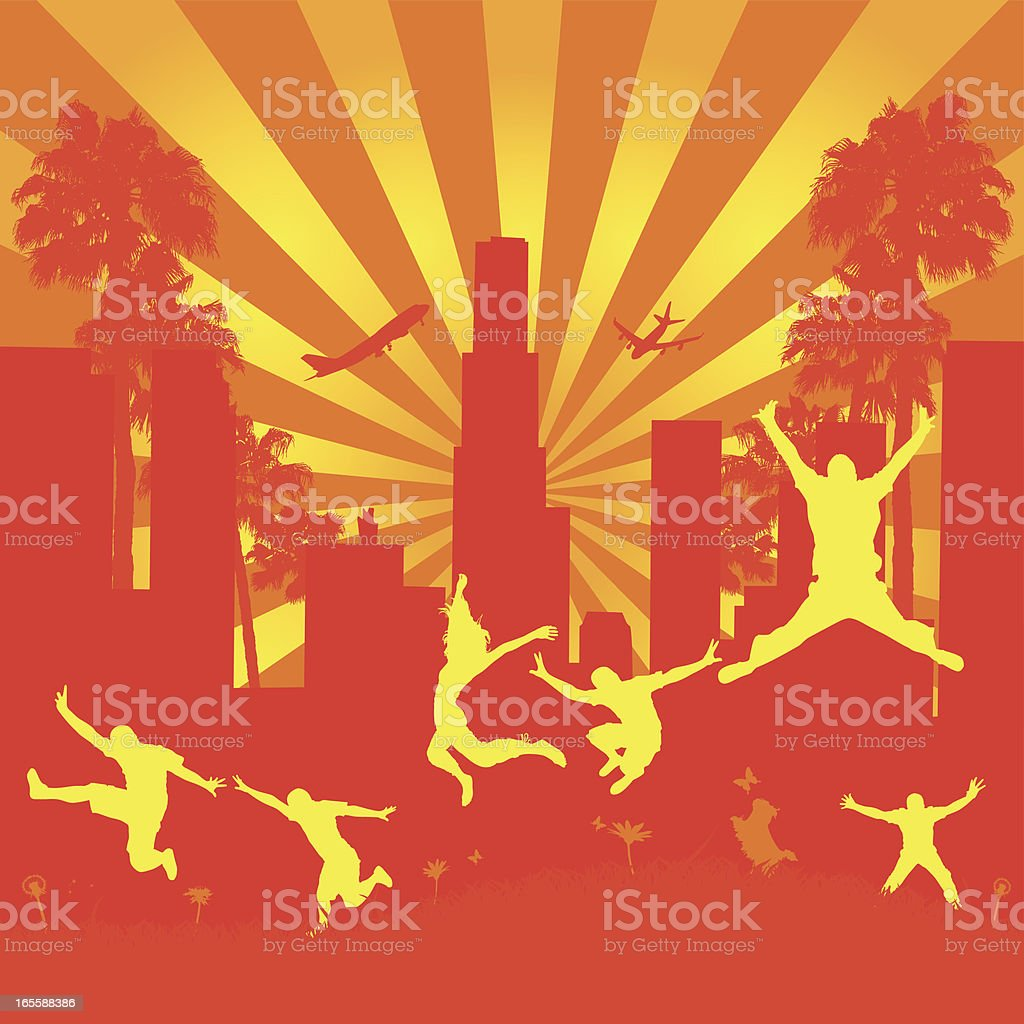 People Jumping In Front Of Los Angeles royalty-free people jumping in front of los angeles stock vector art & more images of airplane