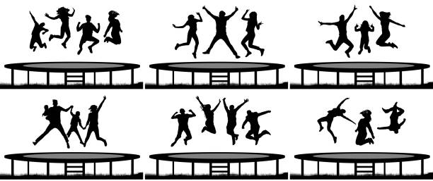 people jumping trampoline silhouette set - jumping stock illustrations