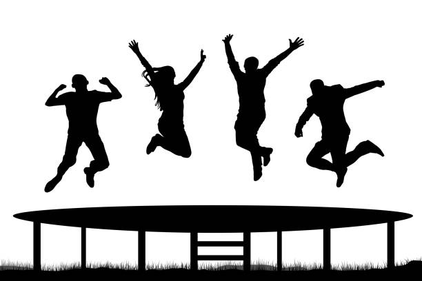 people jumping trampoline silhouette - jumping stock illustrations