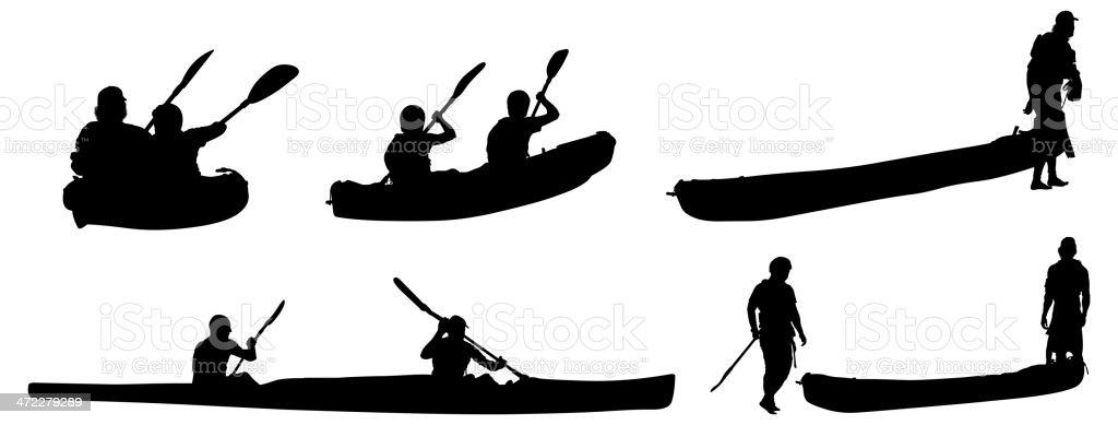 People kayaking royalty-free stock vector art
