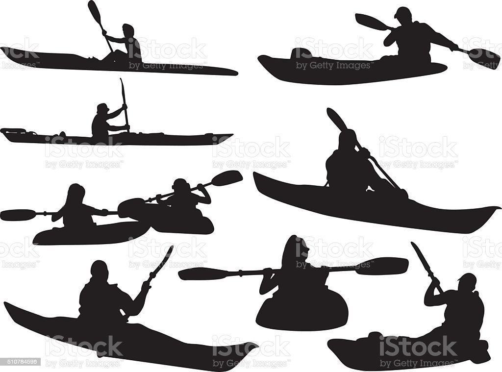 People kayaking vector art illustration