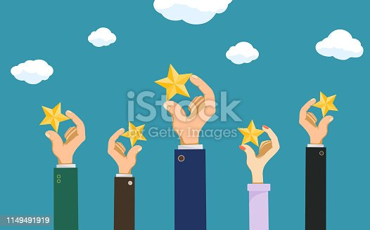 People keep rating stars in their hands. Customer feedback reviews. Vector illustration.