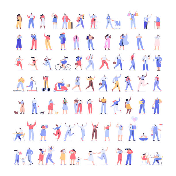 People kit - Part1. Crowd of people Huge  Vector set. Different walking and running people. Male and female. Flat vector characters isolated on white background. characters stock illustrations