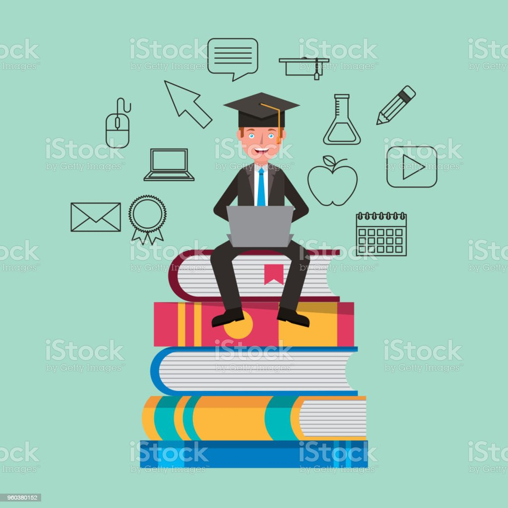 people learning education related vector art illustration