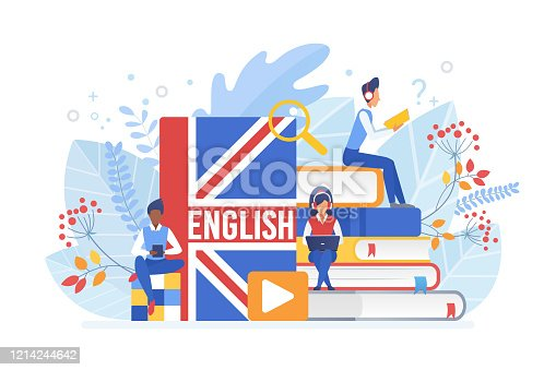 People learning English isometric vector illustration. Distance education, online learning concept. Students reading books 3d cartoon characters. Using hi-tech gadgets for teaching foreign languages