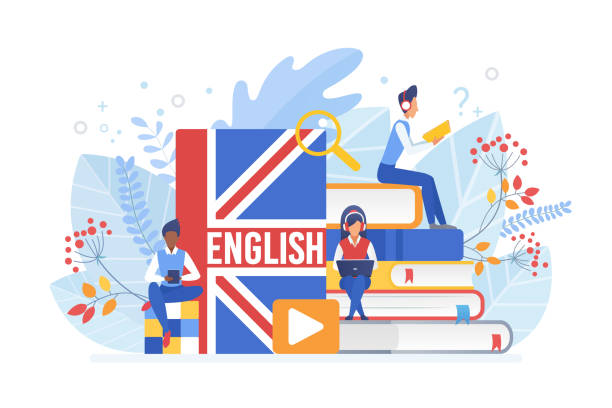 illustrazioni stock, clip art, cartoni animati e icone di tendenza di people learning english isometric vector illustration. distance education, online learning concept. students reading books 3d cartoon characters. using hi-tech gadgets for teaching foreign languages. - english