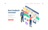 People leaving best feedback comment. Isometric man and woman leaving best feedback comment and rating online service on website banner
