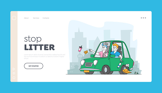 People Leaving Garbage on Street Landing Page Template. Male Characters Throw Litter through Car Window in City