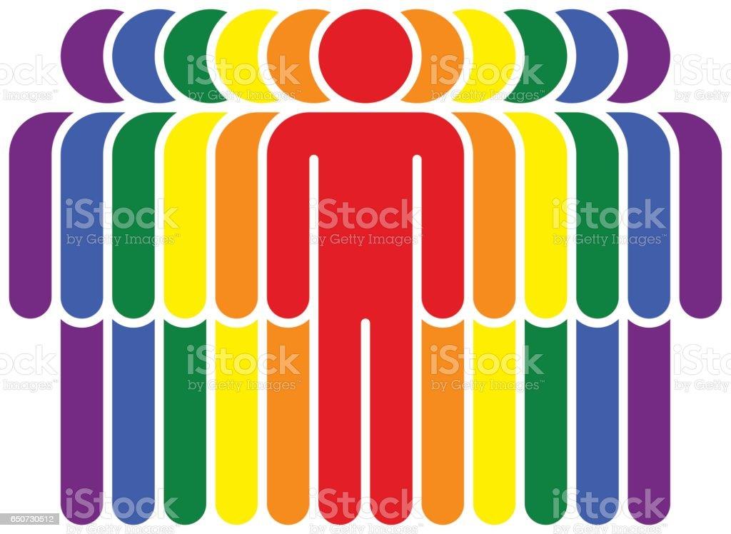 People LGBT Movement Rainbow Flag vector art illustration
