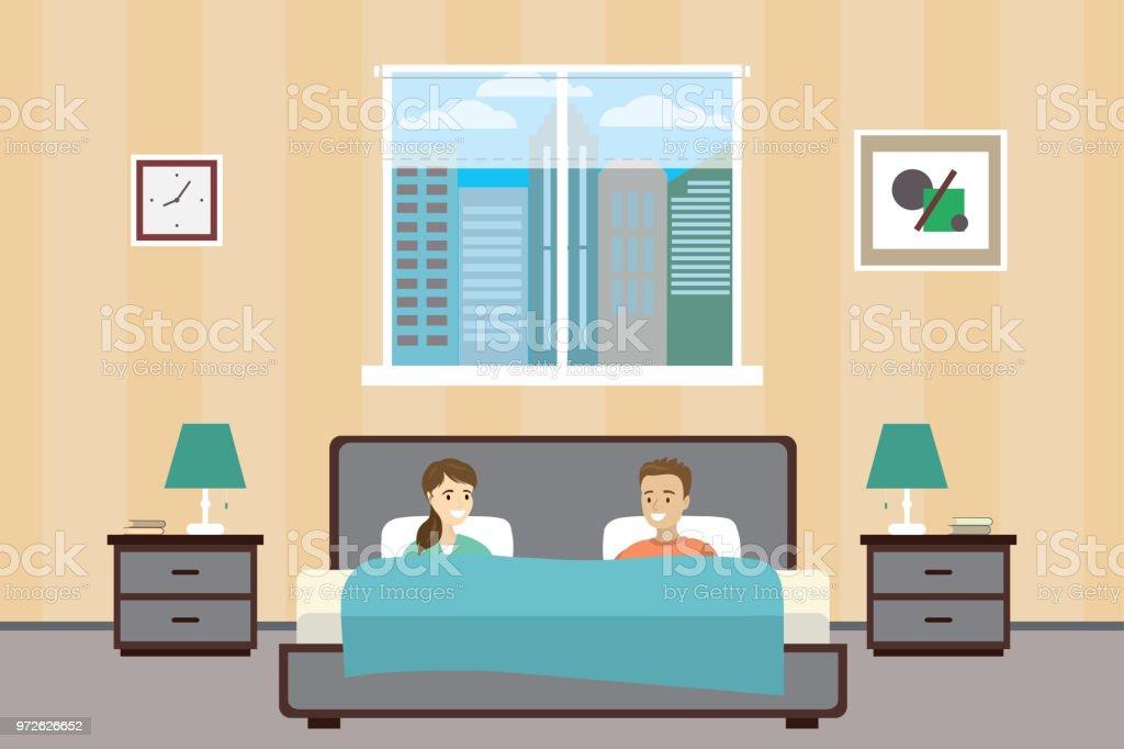 Les Gens Se Trouvent Dans Son Lit Couple Dans La Chambre Accueil