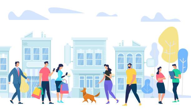 menschen lifestyle in city. männer und frauen zu fuß, - arbeitshunde stock-grafiken, -clipart, -cartoons und -symbole