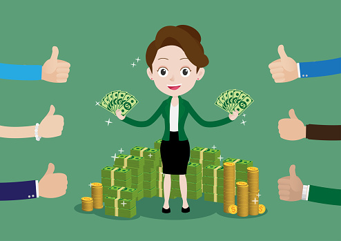 People like and give a thumbs up to business woman holds dollar and standing in a lot of money around her, Society that praises the rich, Money is god concept