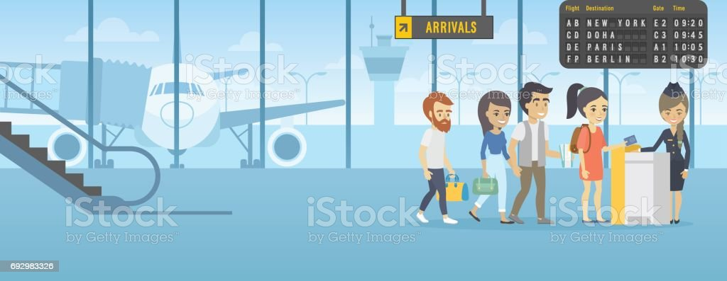 people line for air tickets counter airport vector
