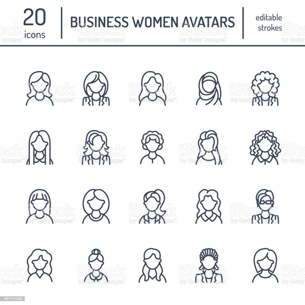 People line icons, business woman avatars. Outline symbols of female professions, secretary, manager, teacher, student. Young girls thin linear signs