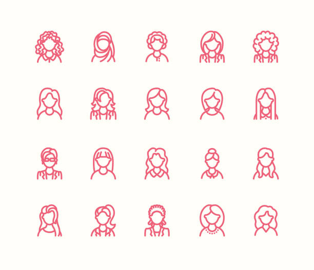 people line icons, business woman avatars. outline symbols of female professions, secretary, manager, teacher, student. young girls thin linear signs - young women stock illustrations