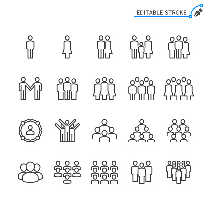 People line icons. Editable stroke. Pixel perfect.