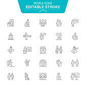 Active Lifestyle, Track Event, Exercising, Sport, Business, Editable Stroke Icon Set